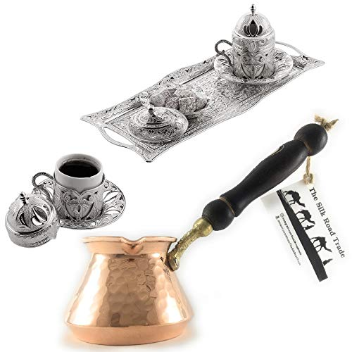 - 11 Pieces Espresso/Turkish Greek Arabic Coffee Full Set for 2 Persons // Silver Special Daphne Design Bundle with Unique Hammered Copper Coffee Pot (Cezve)