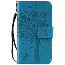 SZYT Phone Case for Samsung Galaxy Avant / Galaxy Core LTE 4G / Galaxy G386, Imprint Pattern Cat and Tree with Black Handle Blue