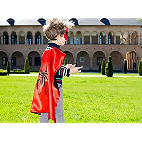 - 51MVPOf7FUL - Superhero Capes for Kids, Girls & Boys   Pretend Play 2 Reversible Capes & 4 Masks Halloween, Birthdays Party Favors