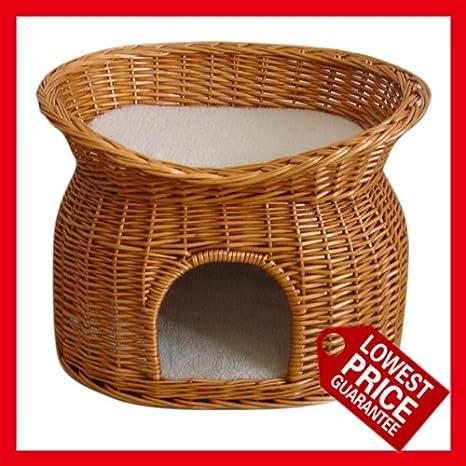Hecho a mano dos niveles de cesta de mimbre para gatos o ...