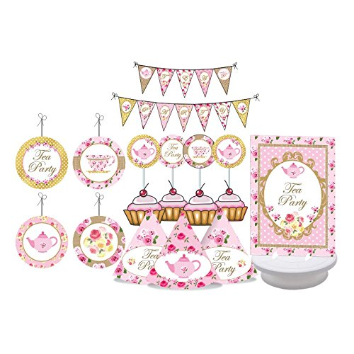 Tea Party Tea Party Birthday Decorations for Girls Pink amp Gold Party Baby Shower Bridal Shower Pink and Gold Party Includes Party Hats Centerpieces Banner Danglers and Cupcake Toppers