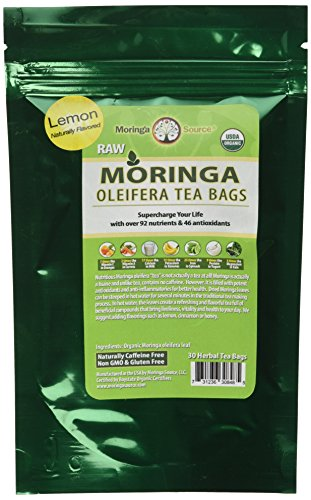 Organic Moringa Superfood Tea-Lemon-30 Teabags, 100% Pure, Raw, Potent, Energy Boosting, Non-GMO. Rich in Nutrients, Amino Acids, Anti-inflammatories, Antioxidants and Vegetable Proteins.