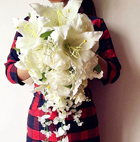 ONE Waterfall Bride Bouquet Artificial Rose Lily Wisteria Vine Wedding Bridal Bridesmaids Bouquets (CREAM)