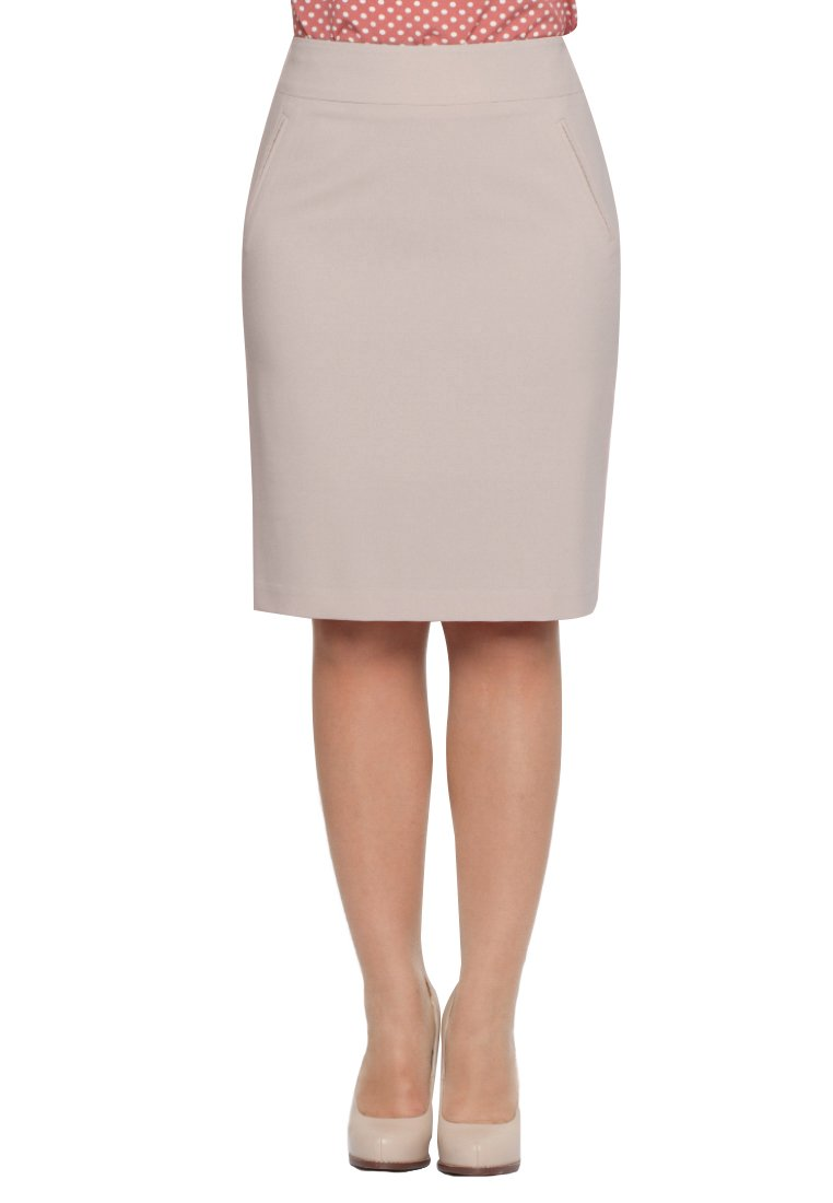 Max & Style Golden | Body Slimming Knee Length Pencil Skirt | Classic Style Business Professional Skirt | Women's Office Skirt | US 10-18 (16, Cacao)