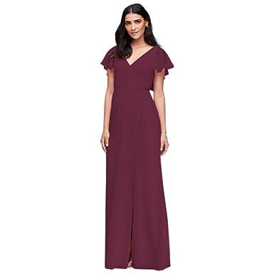 1ec38ebb696b6 David's Bridal Flutter Sleeve Crinkle Chiffon Bridesmaid Dress Style W11446  at Amazon Women's Clothing store: