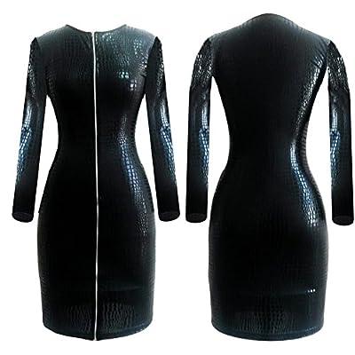 ThinkMax Plus Size Sexy Lingerie PVC Latex Bodysuits Faux Leather Fetish Dominatrix Bandage Long Sleeves Night Club Wear Zipper Dress Black