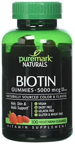 Puremark Biotin Gummies Vegetarian Gummies, 5000 mcg, Strawberry, 100 Count