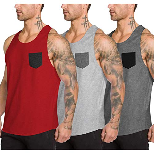 COOFANDY Men's 3 Pack Workout Tank Top Gym Muscle Tee Fitness Bodybuilding Sleeveless T Shirts