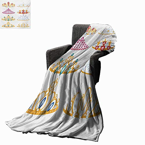 Anyangeight Teen Girls Throw Blanket Golden Yellow Tiaras with Vivid Digital Gemstone Figures Collection Cartoon,Super Soft and Comfortable,Suitable for Sofas,Chairs,beds