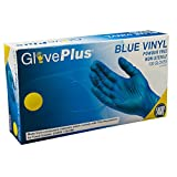 Ammex IVBPF42100 Vinyl Gloves GlovePlus Disposable, Powder Free, Non-Sterile, 4 mil, Small, Blue (Case of 1000)