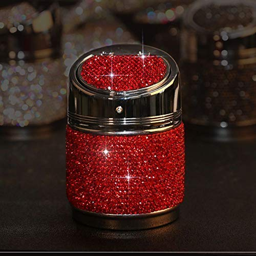 (BabYoung Luxury Diamond Bling Car Ashtray Cigarette Portable Smokeless Crystal Shiny Ashtray Best Gift for Women Girls (Red))