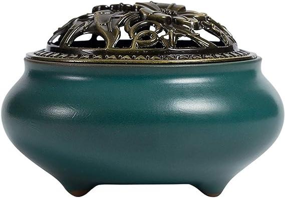 芳香器・アロマバーナー セラミック香炉スモーク磁器のお香は、リビングルームの寺院のためのアロマセラピーストーブアロマディフューザーを脱臭ラック アロマバーナー芳香器