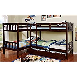 HOMES: Inside + Out IDF-BK904 Ennie Bunk Bed Childrens Frames, Twin/Twin/Twin/Twin