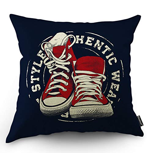 (Moslion Shoes Pillows Decorative Pillow Case Vintage Fashion Sneaker Sport Wear Throw Pillow Cover Square Cushion Accent Cotton Linen Home 18x18 Inch Red Black)