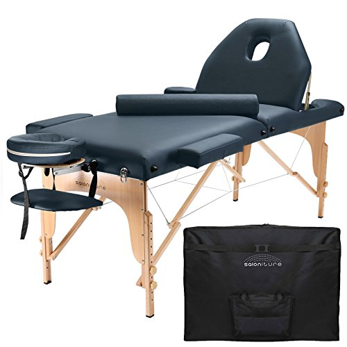Saloniture Professional Portable Massage Table with Backrest - Blue