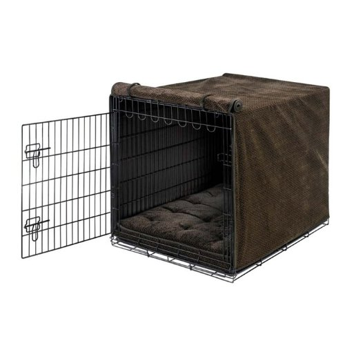 Chocolate Bones MediumBowsers Luxury Crate Cover, Large, Flax