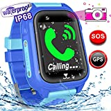 Woqoo Kids Smart Watch Phone-GPS Tracker IP67 Waterproof Fitness Tracker for Girls Boys Back to School Gift Smartwatch with Game SOS Call Camera Electronic Learning Toys for Run Swim Outdoor Birthday