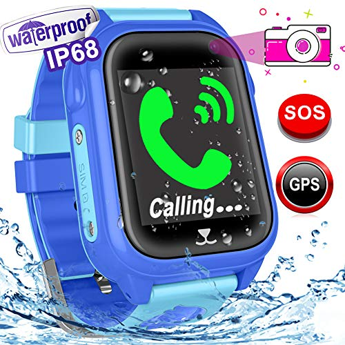 Waterproof GPS Tracker for Kids - Kids Smart Watch Phone with for Kids Boys Girls Back to School Sport Swim Smartwatch Fitness Tracker with Camera Pedometer SOS Phone for Holiday Back to School Gifts
