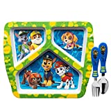 Zak Designs Kids Dinnerware Sets, Plate + Flatware, Paw Patrol Boy 3pc