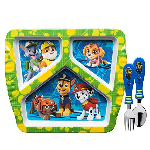 Zak Designs Paw Patrol Divided Plate, Fork and Spoon Set, Paw Patrol, 3 piece set -