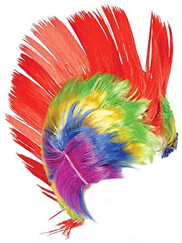 [Adult Rainbow and Pink School and Team Spirit Mohawk Wig] (Punk Rocker Costumes For Kids)