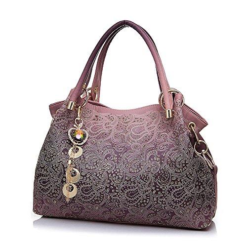 Women Printing Shoulder Bag PU Leather Purse Satchel Messenger Bag - 6