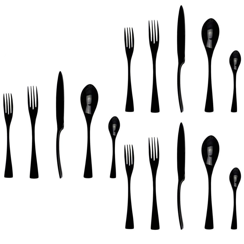 JANKNG 18/10 Stainless Steel Flatware Set,Luxury Black Cutlery Silverware Dinner Service Dessert Fork Tea Spoon Knife,for Home Kitchen Restaurant Hotel, Qty=15 Pcs