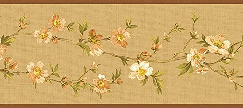 Oriental Floral Wallpaper (NL57034B Cherry Blossom Orchard Floral Oriental Wallpaper Border)