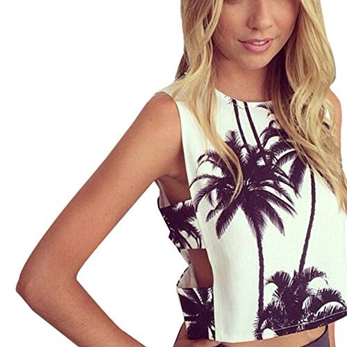 Etosell Women Coconut Tree Print Top Vest Blouse Sleeveless Crop - Print Check Blouse