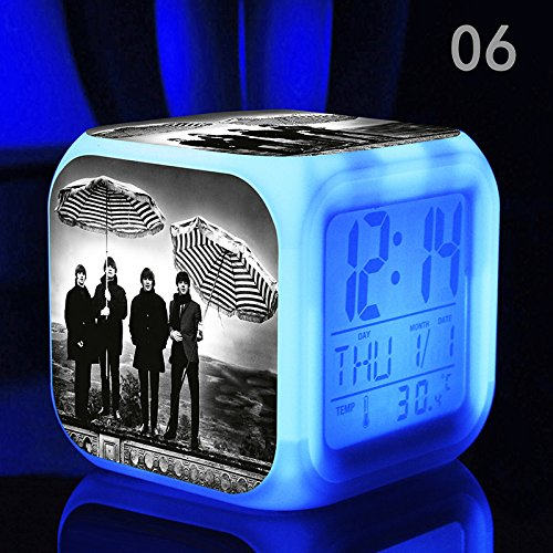 - The Beatles, John Lennon, Paul McCartney, George Harrison and Ringo Starr, The World Famous Rock Band, Digital Alarm Desktop Clock with 7 Changing Glowing LED (Style 6)