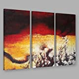 XGHC Hand Painted Modern Abstract Black & Yellow Mix Color Splash Oil Painting On Canvas Set of 3 with Stretched Frame Wall Art For Home Decoration , include inner frame , 24 x 48