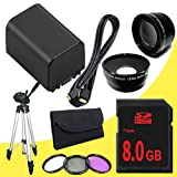 BP-819 Lithium Ion Replacement Battery + 8GB SDHC Class 10 Memory Card + 43mm 3 Piece Filter Kit + Wide Angle Lens + 2x Telephoto Lens + Mini HDMI Cable + Full Size Tripod for Canon Vixia HFM40 HFM41 HFM400 HV30 Digital Camcorders DavisMAX BP819 Accessory Bundle