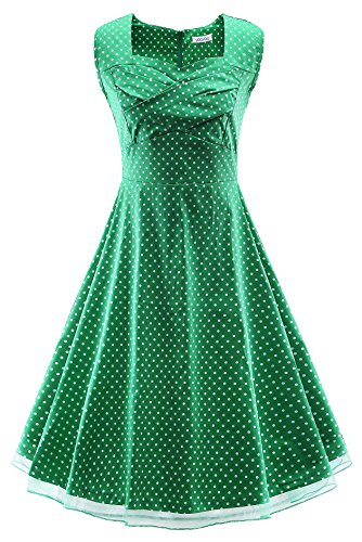 VOGTORY Womens 1950s Vintage Sleeveless V-Neck Garden Party Rockabilly Swing - Fashion 1950s Sale For