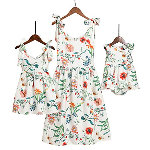 Mumetaz Mommy and Me Sweet Shoulder-Straps Floral Print Matching Dress White