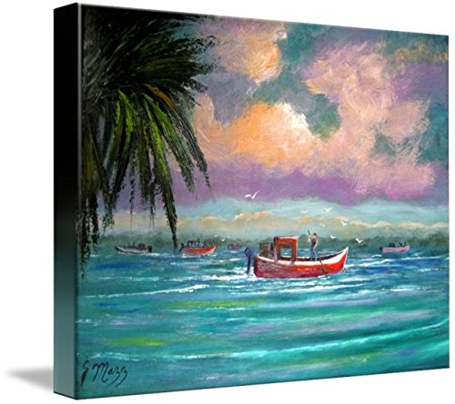 Imagekind Wall Art Print Entitled Oyster Harvesting in Apalachicola Bay by Mazz Original Paintings   10 x 8 (Best Oysters In Apalachicola)