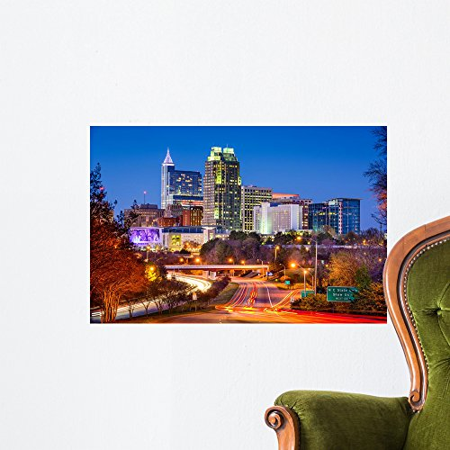 Raleigh North Carolina Skyline Wall Mural By Wallmonkeys Peel And Stick Graphic  24 In W X 16 In H  Wm51897