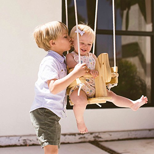 Wooden Horse Swing Set for Toddlers – Smooth Birch Wood with Natural Cotton Ropes Outdoor & Indoor Swing – Eco-Conscious Toddler Bucket Swing Chair, For Baby 6 Months to 3 Years Old by EcoTribe
