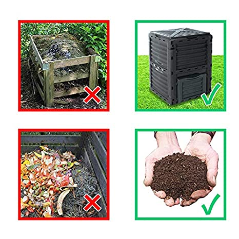 Best4Garden - Compostador, color verde jardín Compost Bin, 300 L, 83 x 61 x 61 cm: Amazon.es: Jardín