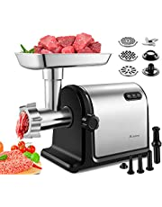 Aobosi Electric Meat Grinder ?2000W Max ?Heavy Duty Stainless Steel Meat Mincer with 3 Grinding Plates, 3 Sausage Stuffer Tubes & Kubbe Attachments,Easy One-Button Control,ETL Approved,Commercial Use