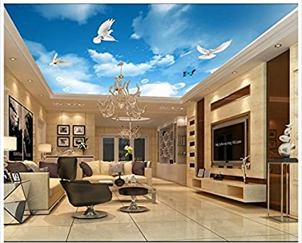 Lqwx 3d wallpaper custom 3d ceiling murals wallpaper blue sky white sky flying pigeon ceiling background