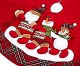 "iPEGTOP 42"" Christmas Tree Skirt - Xmas Tree Skirts Holiday Decoration Happy Skiing Santa & Snowman, Red Non-woven Tartan Rim"