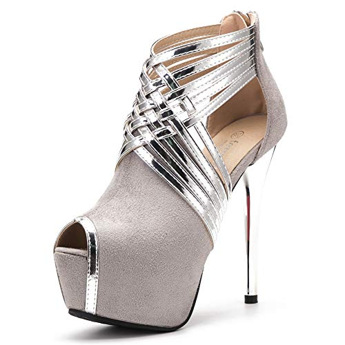 fereshte Women's Peep-Toe Platform Stiletto High Heels Dress Sandals Silver/Suede Grey Label Size 39 - US 7.5