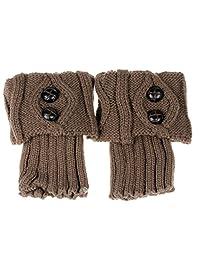 Changeshopping Women Winter Leg Warmer Button Crochet Knit Boot Socks Topper Cuff
