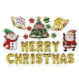 Color: MulticolorMaterial: Aluminum foilSize: Santa: L*W: 63*45cm(24.8*17.72in), snowman: L*W: 63*45(24.8*17.72in), Xmas tree: L*W: 72*56cm(28.35*22.05in), bell: L*W: 98*72(38.58*28.35in)Package Includes: 1 x Santa balloon1 x Snowman balloon1...