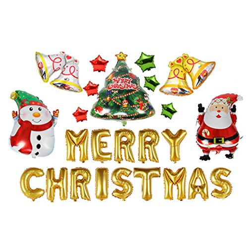 Outgeek Merry Christmas Balloons,Letter Balloons Xmas Tree Pentagram Santa Snowman Bell Christmas Decoration