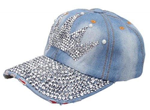 Rhinestone Fedora (Bigood Cowboy Pre-curved Visor Sun Hat Trucker Snapback Baseball Cap Crown)