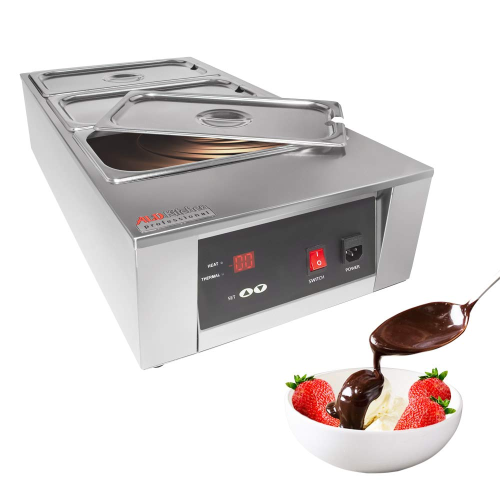 Chocolate Melting Machine & Warming with Three Tanks 6kg Capacity | Stainless Steel 110V Choco Melter for Home or Bakery Use with Digital Control (3 Tanks DIGITAL) by ALDKitchen