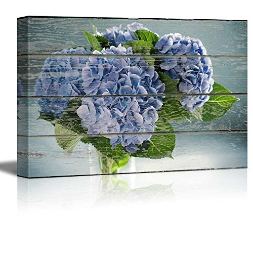(wall26 - Canvas Wall Art - Blue Flower on Vintage Wood Textured Background - Rustic Country Style Modern Giclee Print Gallery Wrap Home Decor Ready to Hang - 16