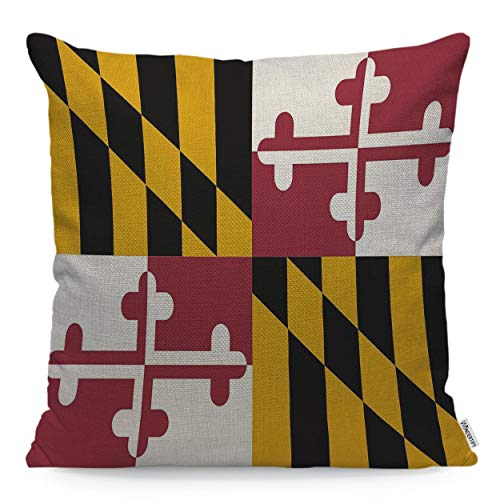 WONDERTIFY Throw Pillow Cover Case Flag of Maryland White Yellow Black Red - Soft Linen Pillow Case for Decorative Bedroom/Livingroom/Sofa/Farm House - Couch Pillow Cushion Covers 18x18 Inch 45x45 cm -