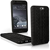 iGadgitz Black Tyre Tread Silicone Rubber Gel Skin Case Cover for HTC One A9 (2015) + Screen Protector